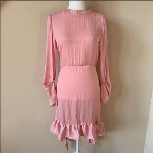 Zara woman mock neck ruffle hem dress #795